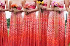 patterned bridesmaids