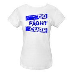 Wear it out loud for cancer awareness with the motto Go Fight Cure on Rectal Cancer shirts, apparel, tees and unique awareness gifts featuring a cool distressed design with  an awareness ribbon to support the cause. #RectalCancerawareness   #cureRectalCancer  #fightRectalCancer