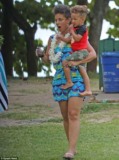 Alicia Key's and Son Egypt's Matching Curly Fros