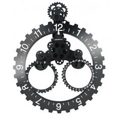 Invotis Big Hour Date with Month Wheel Gear Large Wall Clock Black
