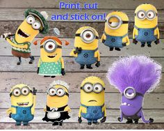 INSTANT DOWNLOAD Despicable Me Minions Printable Birthday Party Sticker for Decorations & Iron On Transfer Tshirt