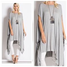 "SALE""Grace Me"" Oversized Poncho T-shirt/Dress Long Tee poncho is a style favorite!!! NWOT. light weight, good for Winter or Spring .  Made to fit slouchy or oversized for a relaxed look. Great to pair with any pants or jeans or simply as a dress..Grey Only...Bundle & save.... 1 SMALL LEFT.. 1 LARGE LEFT! Dresses"
