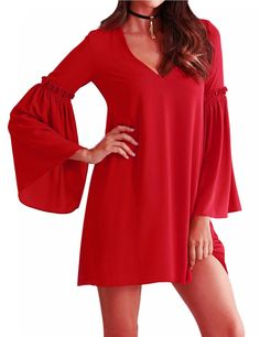 Yesfashion Women Sexy Deep V-neck Pure Pagoda Long Sleeve A-swing Loose Mini Dress Red S-XL - Yesfashion.com in Free Shipping