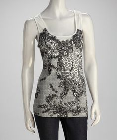 Take a look at this White Lacy Tank by Papillon Imports on #zulily today!