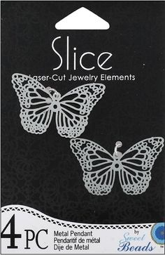 Shop   Category: Charms   Product: Slice Pendant Metal Medium Butterfly Silver 4 piece