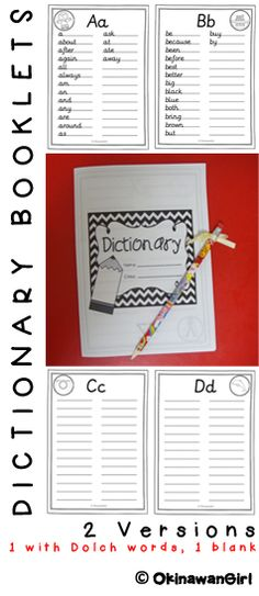 2 dictionary booklet templates: one blank, one featuring all 220 Dolch words. Great for dictionary skills and any lesson that involves spelling or writing. Dictionary Skills, Spelling Dictionary, Personal Dictionary, 2nd Grade Writing, First Grade Reading, Spelling Words, Cvc Words, Word Study, Word Work