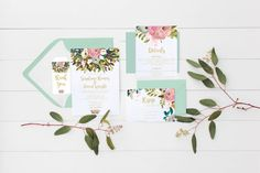 wedding invitation set Wedding suite floral by Papierscharmants