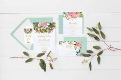 wedding invitation set Wedding suite floral by Papierscharmants