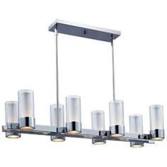 The Silo collection makes artful use of thin-profile rectangular tubing with a mirror-like Polished Chrome finish for a clean, contemporary look.A subtle Frost on the underside of the two cylindrical glass shades adds softness to the sleek lines, while the bright Xenon lamps are cleverly concealed in the cast metal ring allowing ample light to cast both upwards and downwards without glare.