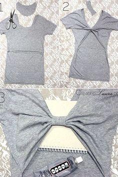 Créez un joli décolleté dans votre dos.   26 idées faciles pour transformer un vieux t-shirt