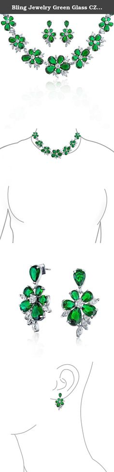 Bling Jewelry Green Glass CZ Necklace Earrings Set Rhodium Plated. Make your wedding day special with a stunning statement necklace set. Made of clear, sparkly CZs and marquise simulated green Emerald glass, the flower cluster style of this May birthstone jewelry will keep you shining bright on your walk down the aisle and beyond. Bridal jewelry sets add glam and the dangling earrings finish the look perfectly.