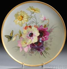 KPM Porcelain Charger ~ Hand painted ~ polychrome decorated with flowers & butterfly ~ Gilded border ~ unsigned ~ Origin Germany ~ Circa 1901-1940