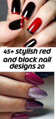 stylish red and black nail designs 20 45 Stylish Red and Black Nail Designs 2017 35 Creative Designs for Almond Nails You Must Try All of the best summer nails summer nai. Nail Designs 2017, Nail Art Designs Videos, Black Nail Designs, Simple Nail Art Designs, Summer Nails Almond, Black Almond Nails, Black Nails, New Nail Art, Easy Nail Art