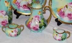 OUTSTANDING LIMOGES Coronet FRENCH TEA ROSES  7 Piece Service Set ~ All Artist Signed by the VERY FAMOUS Listed Artist DUVAL ~ Completely Handpainted