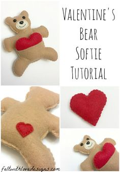 Valentine's Bear Softie Free Pattern and Tutorial - Felt With Love Designs