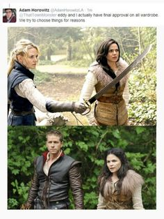 "I loved it when Regina came brandishing through in Snow's old ""banditry"" outfit."