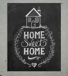 Home Sweet Home Chalkboard Art Print | Show your humble abode some humble affection with this Home Sw... | Printmaking