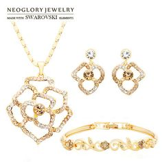 Neoglory MADE WITH SWAROVSKI ELEMENTS Rhinestone Jewelry Set