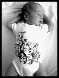 Screen printed Owl Baby Grow by RolfeAndWills on Etsy, £15.00