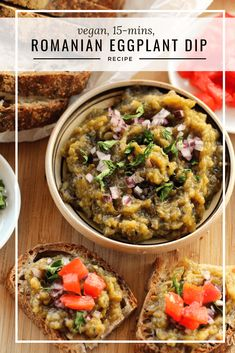 This smoky roasted eggplant dip is great to spread on toast or use with pita, chips and/ or assorted crispy vegetables. Vegan and ready in just 15 mins. Romanians call it an Eggplant salad and paired with some tomatoes and bread, it makes a complete meal. Eggplant Dip Recipes, Roasted Eggplant Dip, Eggplant Dishes, Roast Eggplant, Brunch Recipes, Soup Recipes, Vegetarian Recipes, Chicken Recipes, Healthy Recipes