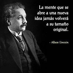 ... La mente que se abre a una nueva idea, jamás volverá a su tamaño original. Albert Einstein.