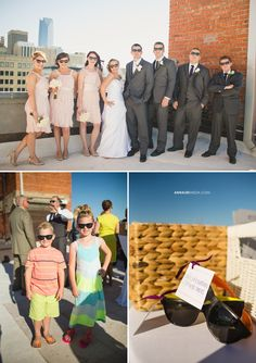 © Anna Lee Media | Oklahoma Wedding Photographer, downtown rooftop wedding, outside daytime, Emerson Events and Design, sunglasses guest party favor gift, fun bridal party pose, neon sunglasses