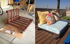 This is a outdoor futon I made from two pallets. I then upholstered foam for the cushions and sewed the pillows from outdoor fabric