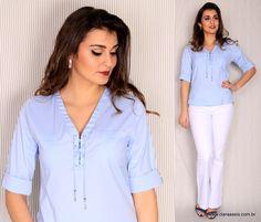 Clara Assis Verão 2017 Camisa de Tricoline cod: 24.385 Azul Serenity Pantone