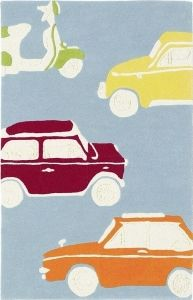 Shop for at Style Library: Go Go Retro by . Go Go Retro is a retro-inspired rug featuring vintage cars and scooters touring around on a blue backg. Grey Living Room With Color, Living Room Colors, Dream Catcher Nursery, Childrens Rugs, Retro Kids, Interior Design Website, Oldschool, Wallpaper Direct, Hand Tufted Rugs