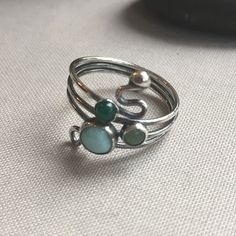 Oxidized Sterling Silver Ring with Larimar, green Onyx and green Aventurine. Green Onyx, Green Aventurine, Oxidized Sterling Silver, Metal Jewelry, Metals, Dj, Gemstone Rings, Gemstones, Gems