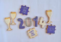 Happy new year decorated cookies