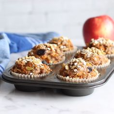 Healthy Morning Glory Muffins made gluten free friendly, sweetened with maple syrup and dairy-free. Loaded with all the texture from walnuts, apples, carrots, r Pumpkin Zucchini Muffins, Veggie Muffins, Carrot Muffins, Gluten Free Muffins, Gluten Free Baking, Healthy Muffin Recipes, Healthy Muffins, Healthy Baking, Healthy Snacks
