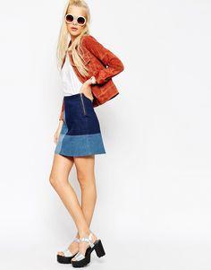 ASOS Denim Patchwork A-Line Mini Skirt