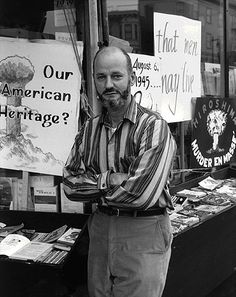 City Lights Books co-founder Lawrence Ferlinghetti in front of the store. (1950s)