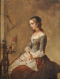 Eugène François de Block (Belgian, 1812-1893)     Woman Seated Beside a Spinning Wheel   1867