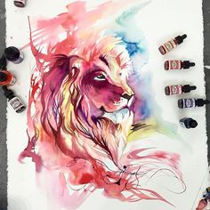Colorful Animal Paintings Katy Lipscomb Georgia based Talented illustrato r Artist Katy Lipscomb made amazing colorful portraits of animals by using th… Art Watercolor, Watercolor Animals, Watercolor Lion Tattoo, Lion Painting, Painting & Drawing, Lion Drawing, Animal Paintings, Animal Drawings, Art Drawings