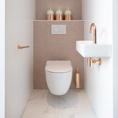 ♡ Small Downstairs Toilet, Small Toilet Room, Guest Toilet, Downstairs Bathroom, Small Toilet Design, Modern Toilet Design, Bathroom Under Stairs, Bathroom Wall, Beautiful Bathrooms
