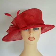 Ladies Wedding Hat Races Mother Bride Ascot Hat Red Angular Feathers Loops