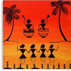 'Warli painting - Traditional Art from India ' Canvas Print by manjiri Worli Painting, Basic Painting, Madhubani Art, Madhubani Painting, African Art Paintings, Abstract Paintings, Folk Art Paintings, Indian Folk Art, India Art