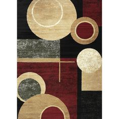 Transform your decor with this trendy 7'10 x 10'2 area rug. Constructed of 100-percent heat-set polypropylene, this floor covering displays a burgundy background and a geometric design in a beige, black, brown, green and red finish.