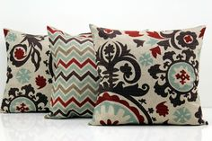 These pillows are perfect for a tan sofa or a brown leather sofa!  Premier Prints Denton Fabric -   18 Decorative Pillow Covers for Couch by PillowsbyWillow on Etsy, $57.00
