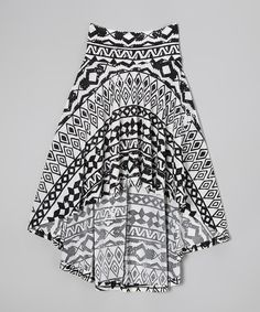 Look at this Black & White Tribal Hi-Low Skirt on #zulily today!