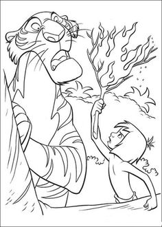 Mowgli Gives A Torch To Shere Khan Coloring Page From Jungle Book Category Select 30198 Printable Crafts Of Cartoons Nature Animals Bible And Many