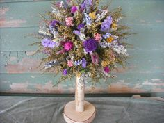 Fragrant Dried flower and Herb Bride's bouquet with birch handle. Converts into a topiary or centerpiece for your head table. Dried Flower Bouquet, Dried Flowers, Bride Bouquets, Topiary, Flower Power, Floral Arrangements, Diy And Crafts, Wedding Flowers, Centerpieces