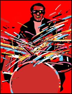 Waldemar Swierzy - Sizzling Sticks photo: Feel the beat of the drummer, the propulsive force that makes the music swing. In this fiery Swierzy print, the beat of a Buddy Rich, an Art Blakey, a Gene Krupa or New Orleans' Paul Barbarin pulses through this blazing 13 color limited edition, serigraph— printed by our award-winning master printers on acid-free, museum quality fine art paper.  A hand-pulled, limited edition of 350 with printer's certificate of authenticity.  Dimensions: 32…