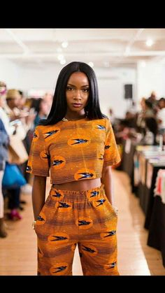 Orange Ankara Crop top and high waisted pants African Inspired Fashion, Latest African Fashion Dresses, African Print Dresses, African Print Fashion, African Dress, Africa Fashion, African Prints, African Attire, African Wear