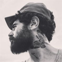 upshot of a beard and mustache with a nice throat neck tattoo tattoos tattooed underside beards bearded man men bearding
