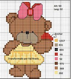 Ponto cruz: Ursinhos