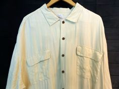 Tommy Bahama Yellow Hawaiian Button Up Shirt Men XXL Silk Embossed Stripes Relax #TommyBahama #Hawaiian