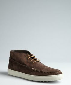 Tod's brown brushed leather lace-up boatstitched chukkas